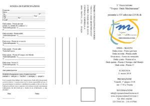 """Premio Internazionale di Poesia """"Tropea: Onde Mediterranee"""" – 15a edizione – 2018."""
